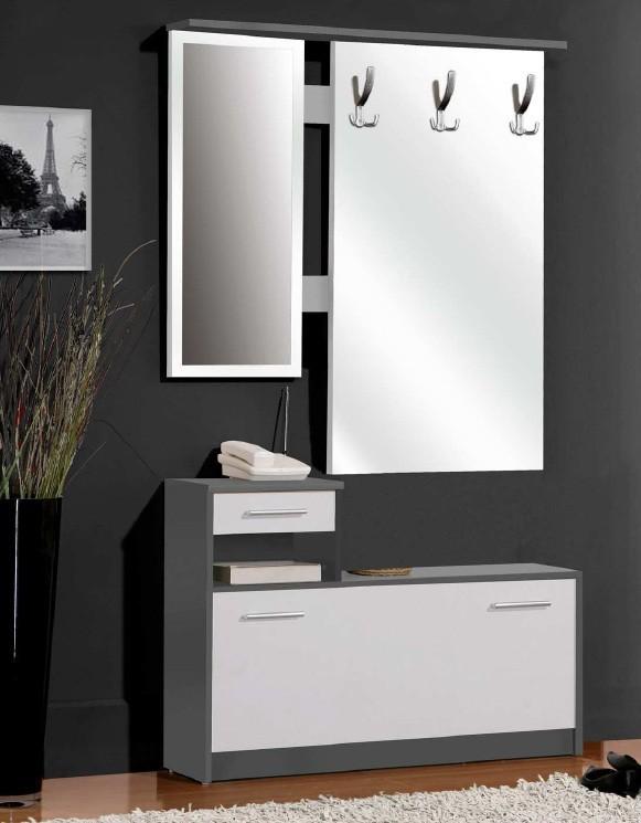 Predsieňová stena FOXD02 (sivá/biela)