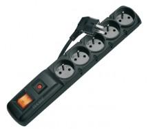 Prepäťová ochrana P53872, 5 zásuviek, vypínač, 3m, čierna