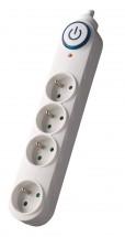 Prepäťová ochrana Solight PO55, 4 zásuvky, 1,5m, biela