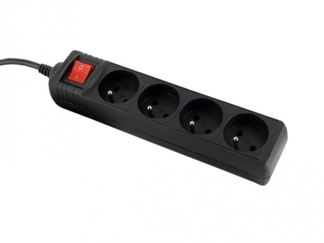 Prepäťová ochrana WE 8404, 4 zásuvky, 1,8m, čierna