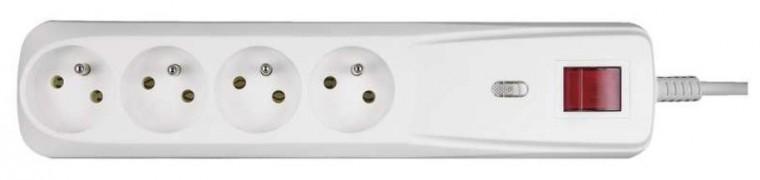 Prepäťové ochrany Emos P53949, prepäťová ochrana 4 zásuvky 1m, biela