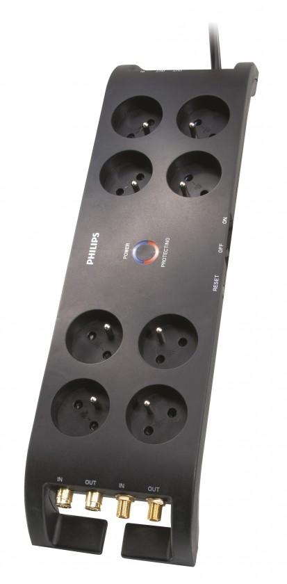 Prepäťové ochrany Philips P54030, prepäťová ochrana 8 zásuviek, 3m, 3600J ROZBALENÉ