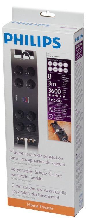 Prepäťové ochrany Philips P54030, prepäťová ochrana 8 zásuviek, 3m, 3600J