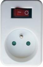 Priebežná zásuvka s vypínačom Solight P96, biela