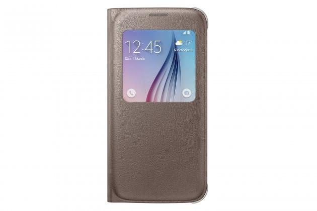 Príslušenstvo pre S6 Samsung flip puzdro pre Samsung Galaxy S6, zlatá