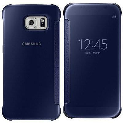 Príslušenstvo pre S6 Samsung puzdro Clear View pre Galaxy S6, čierne/modré