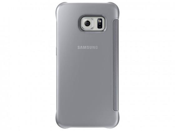 Príslušenstvo pre S6 Samsung puzdro Clear View pre Galaxy S6 Edge, strieborné