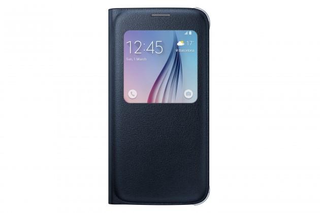 Príslušenstvo pre S6 Samsung puzdro S-View pre Galaxy S6, čierne