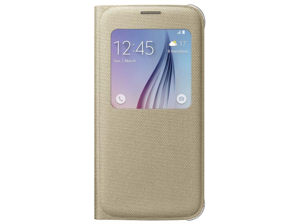 Príslušenstvo pre S6 Samsung textilné puzdro S-View pre Galaxy S6, zlaté