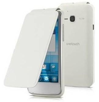 Puzdrá a kryty Alcatel flip puzdro pre Alcatel One Touch S'POP, biela POUŽITÝ