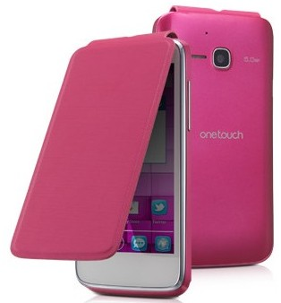 Puzdrá a kryty Alcatel One Touch M´POP Flip pouzdro s logem, Pink ROZBALENO