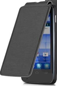 Puzdrá a kryty Alcatel One Touch S´POP Flip puzdro s logom,čierne