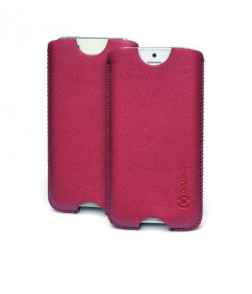 Puzdrá a kryty  Celly koženkové pouzdro - Apple iPhone 5; vínové; blister