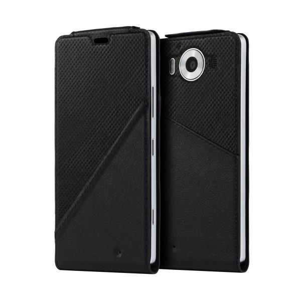 Puzdrá a kryty Mozo flip kožené puzdro pre Lumia 950, čierna