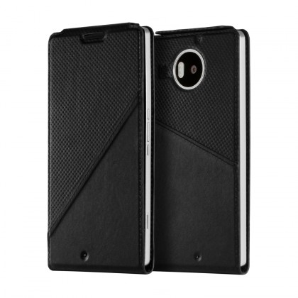 Puzdrá a kryty Mozo flip kryt kožený (bezdrát. nabíjanie) pre Lumia950XL,čierna