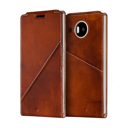 Puzdrá a kryty Mozo flip kryt kožený (bezdrát. nabíjanie) pre Lumia950XL, hnedá