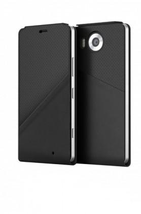 Puzdrá a kryty Mozo flip kryt kožený (bezdrôt. nabíjanie) pre Lumia 950, čierna