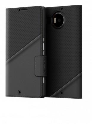 Puzdrá a kryty Mozo flipový tenký kryt kožený pro Lumia 950 XL, čierny