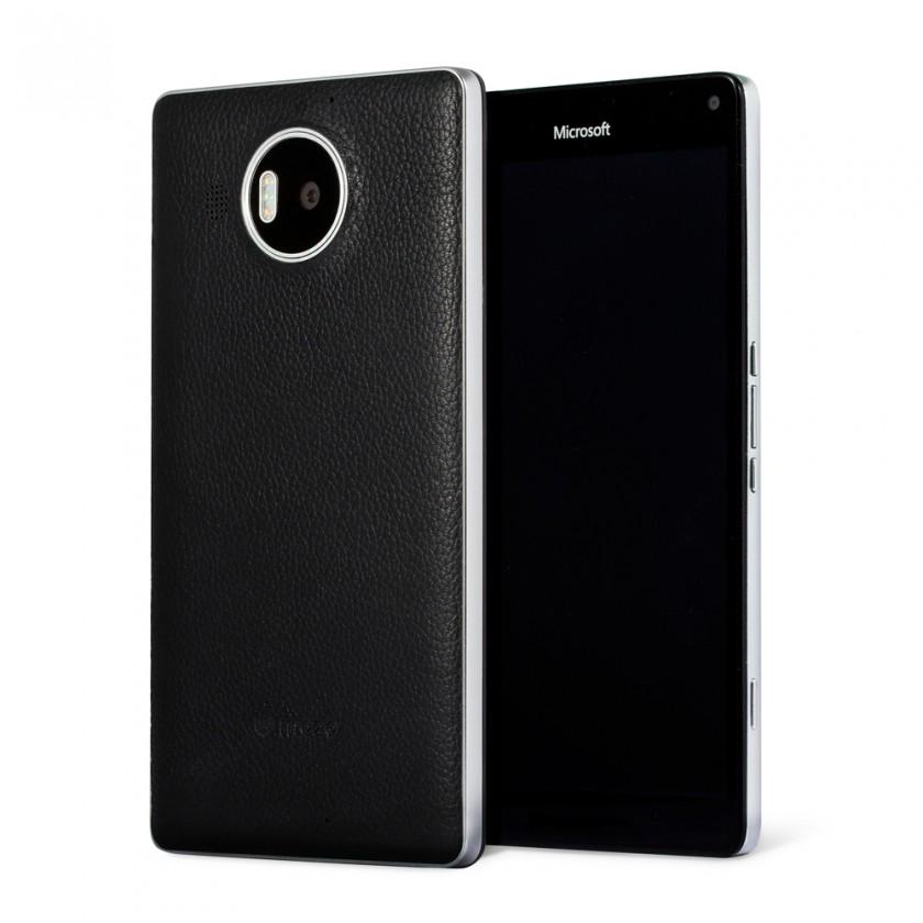 Puzdrá a kryty Mozo kryt kožený (bezdrát.nab.)pre Lumia950XL,čierna/strieborná