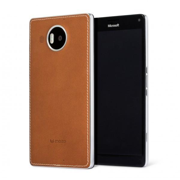 Puzdrá a kryty Mozo kryt kožený (bezdrát.nabíj.)pre Lumia950XL,hnedá/strieborná