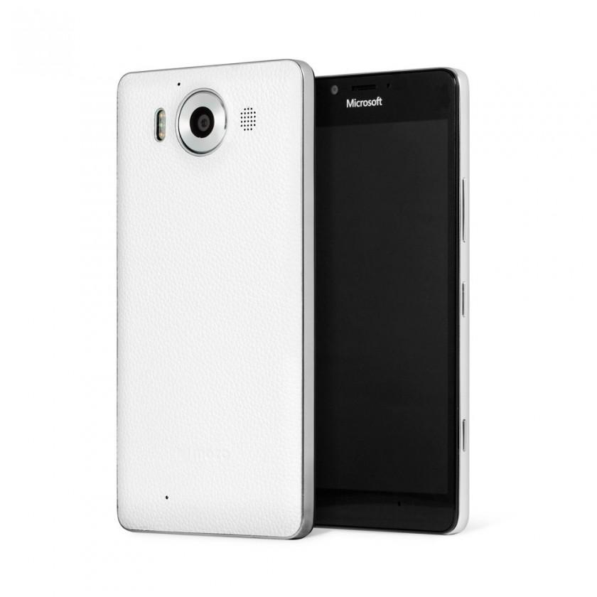 Puzdrá a kryty Mozo kryt kožený (bezdrôt. nab.) pre Lumia 950, biela/strieborná