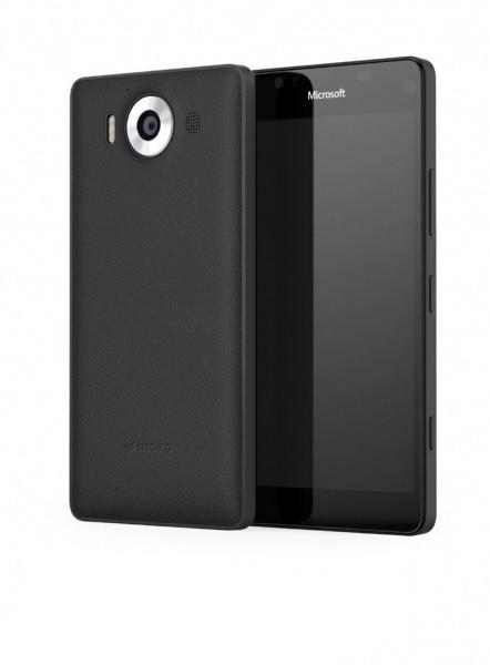 Puzdrá a kryty Mozo kryt kožený (bezdrôt. nab.) pre Lumia 950, čierna/čierna