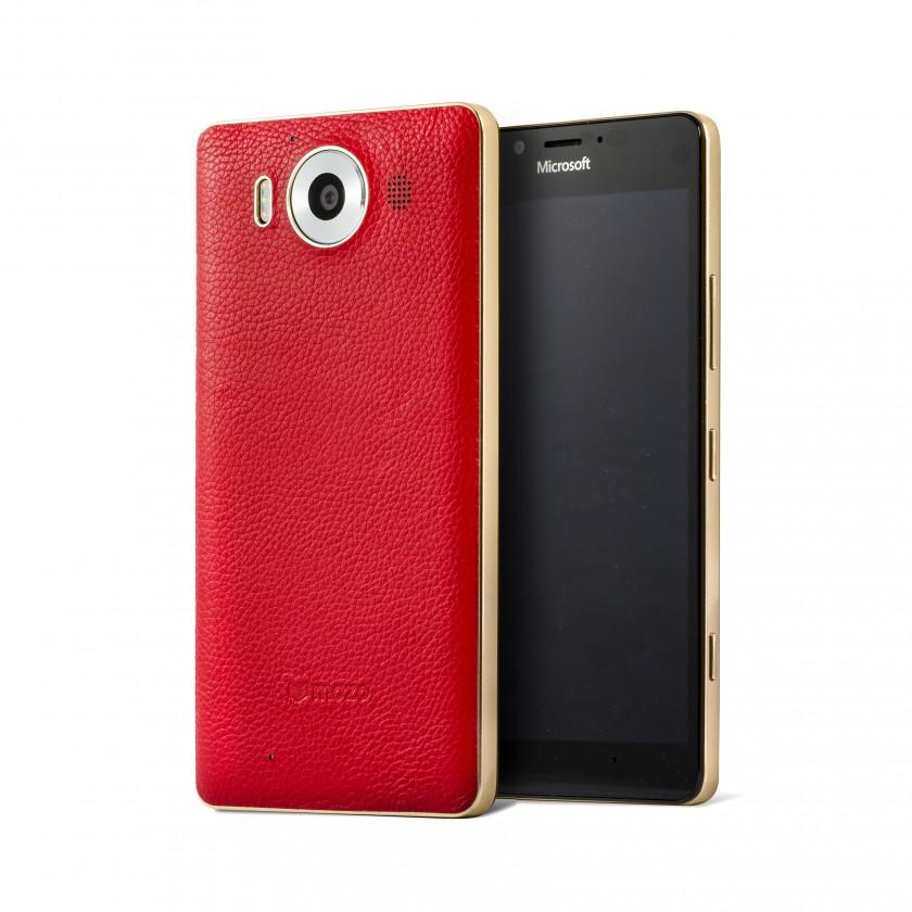 Puzdrá a kryty MOZO zadný kryt pre Lumia 950 Červená koža