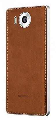 Puzdrá a kryty MOZO zadný kryt pre Lumia 950 Hnedá koža