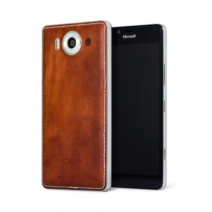 Puzdrá a kryty Mozo zadný kryt pre Lumia 950 Hnedá koža ROZBALENÉ