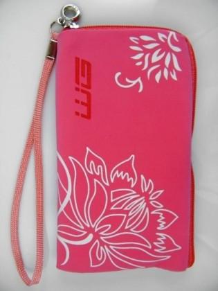 Puzdrá a kryty Puzdro Semiš zips Flower veľ. 1 pink