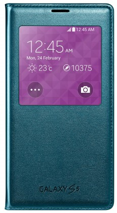 Puzdrá a kryty Samsung EF-CG900BG S-View Galaxy S5 puzdro, modré ROZBALENÉ