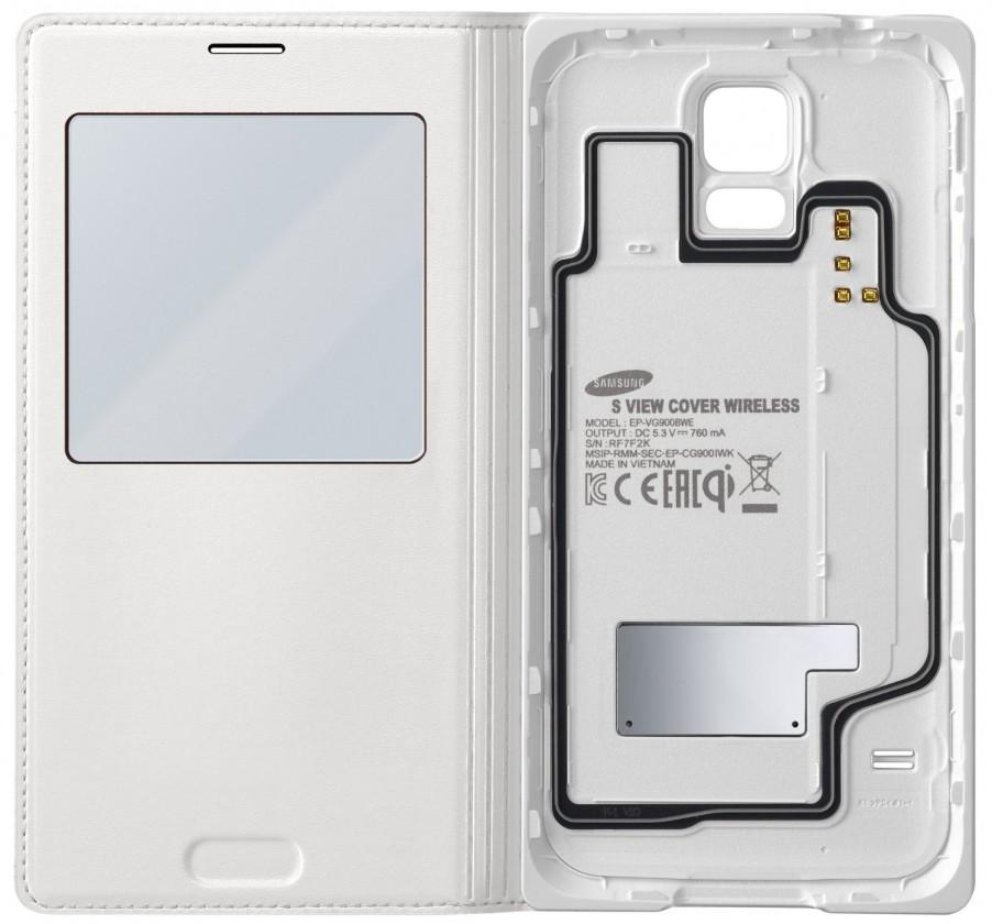 Puzdrá a kryty Samsung EP-VG900BW Galaxy S5 S-View puzdro, biele