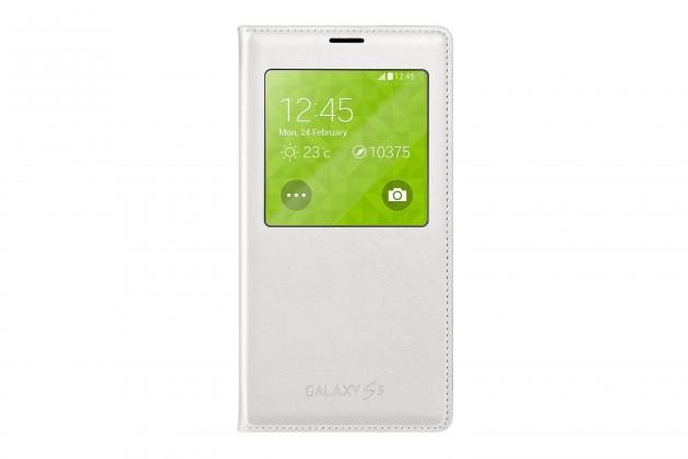 Puzdrá a kryty Samsung puzdro S-View pre Samsung Galaxy S5, biela
