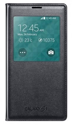 Puzdrá a kryty Samsung puzdro S-View pre Samsung Galaxy S5, čierna