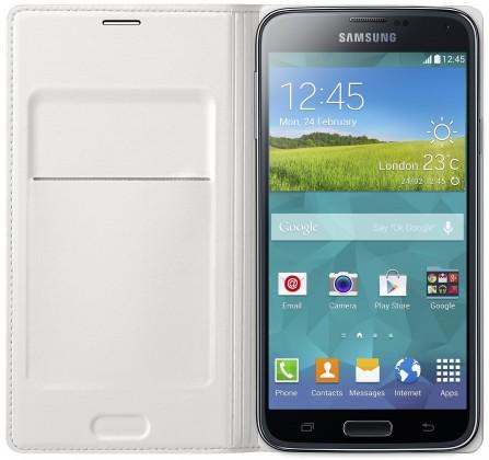 Puzdrá a kryty Samsung puzdro s vreckom pre Samsung Galaxy S5, biela
