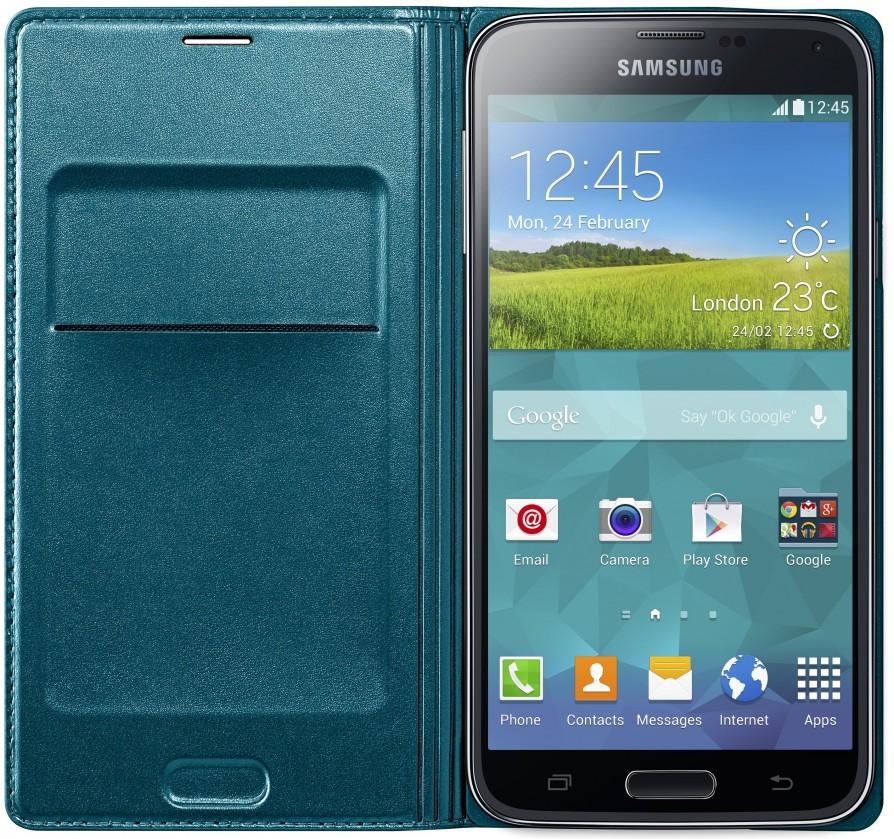 Puzdrá a kryty Samsung puzdro s vreckom pre Samsung Galaxy S5, zelená