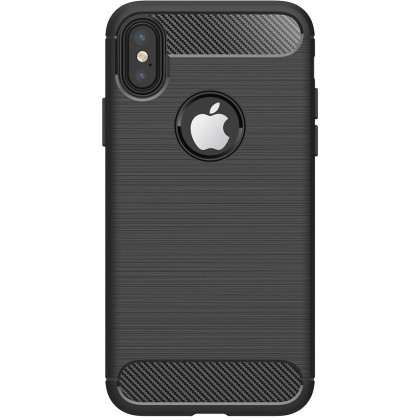 Puzdrá iPhone Zadný kryt pre Apple iPhone XR, karbón, čierna