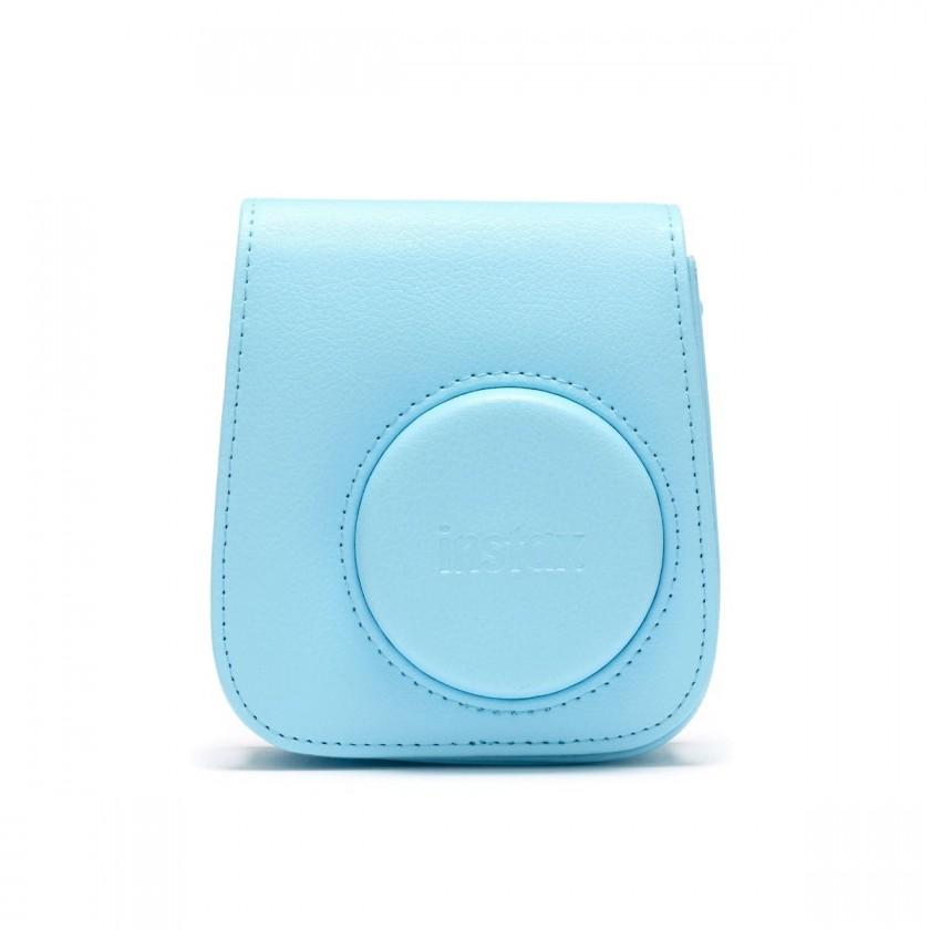 Puzdrá, obaly Puzdro pre fotoaparát Instax Mini 11, kožené, popruh, modrá