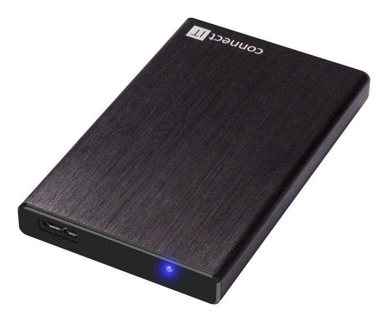 """Puzdrá pre HDD CONNECT IT externý box LITE pre HDD 2,5"""" SATA, USB 3.0 čierny"""