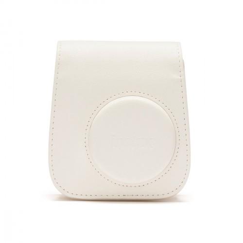 Puzdro pre fotoaparát Instax Mini 11, kožené, popruh, biela
