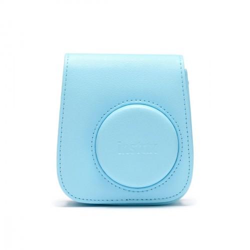 Puzdro pre fotoaparát Instax Mini 11, kožené, popruh, modrá