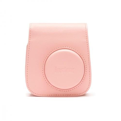 Puzdro pre fotoaparát Instax Mini 11, kožené, popruh, ružová