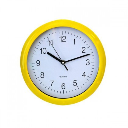 QUARTZ-Hodiny nástenné (žlutá)