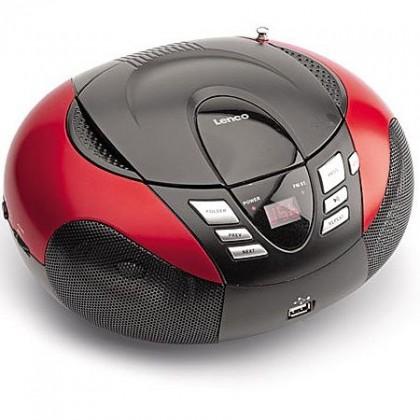 Rádia s CD Lenco SDC-37 USB, červené POUŽITÝ, NEOPOTREBOVANÝ TOVAR