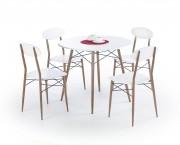 Record - Stôl + 4 stoličky, guľatý (biela, hnedá)