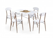Record - Stôl + 4 stoličky, obdĺžnik (biela, hnedá)