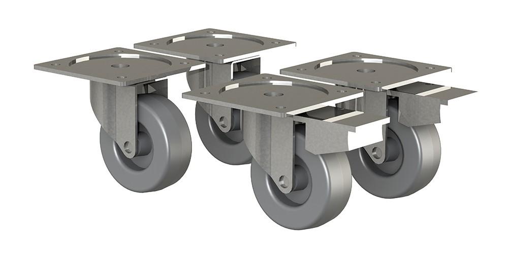 Regál Box - nábytkové kolieska, 4 kusy (sivá)