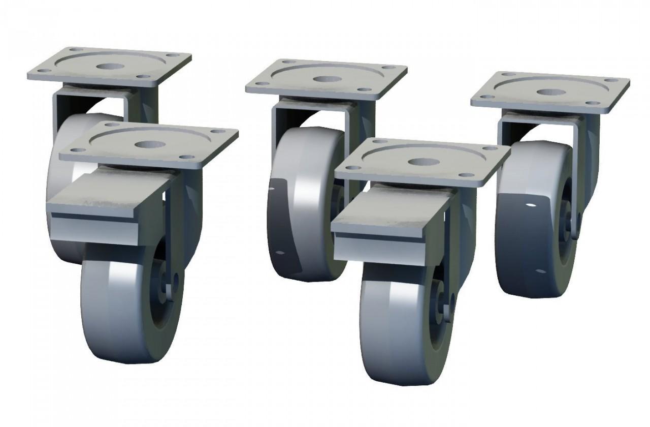 Regál Box - nábytkové kolieska, 5 kusov (sivá, 10 cm)