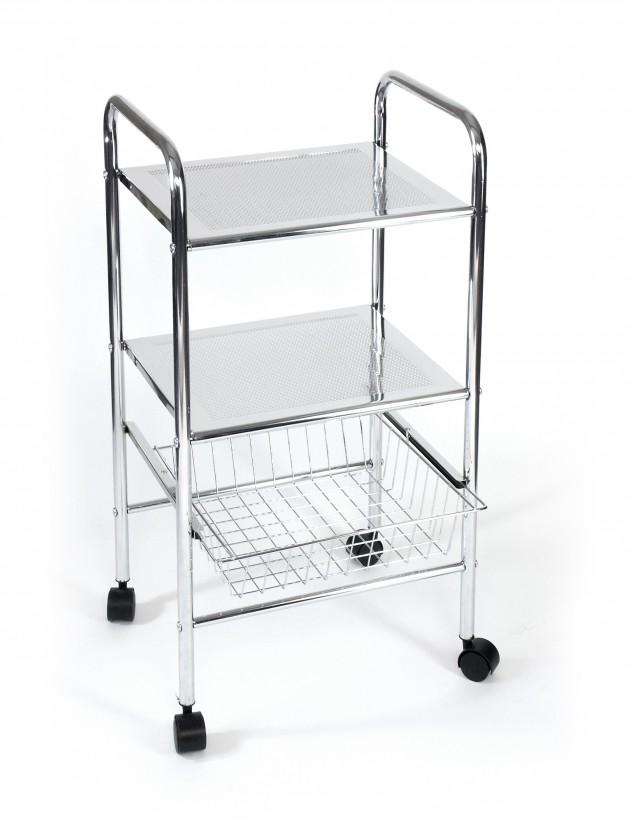 Regál do kúpeľne Kúpeľňový vozík, 73,5 cm (chróm)