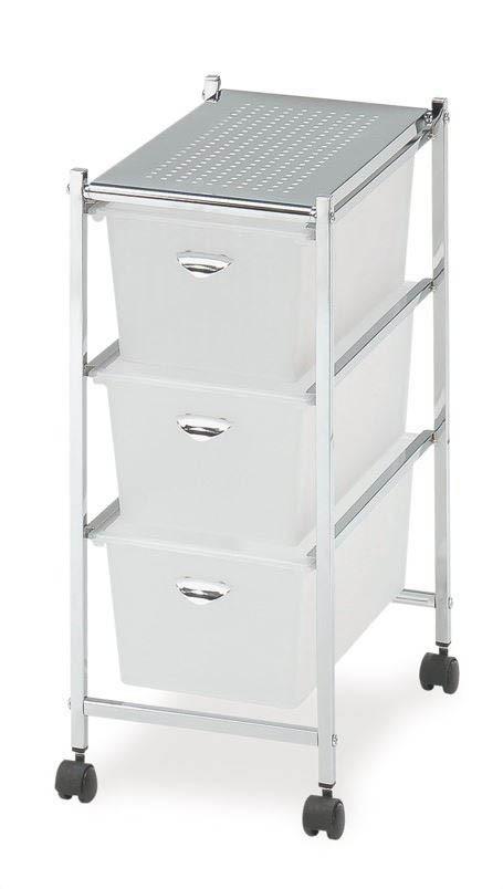 Regál do kúpeľne Úložný regál - 3 zásuvky (chrom,plast)